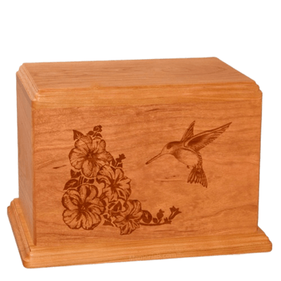 Hummingbird Companion Mahogany Wood Urn