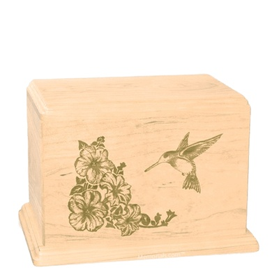Hummingbird Individual Maple Wood Urn
