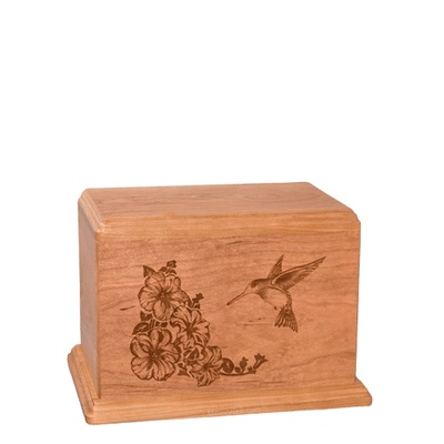 Hummingbird Small Cherry Wood Urn