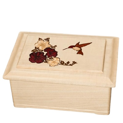 Hummingbird Wood Cremation Urn