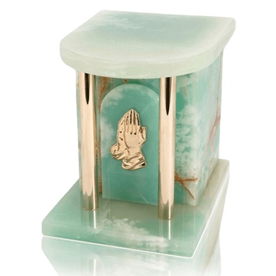 Home Silver Green Onyx Marble Cremation Urns
