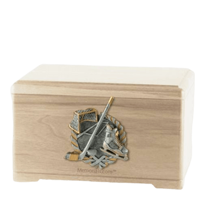 Ice Hockey Maple Cremation Urn