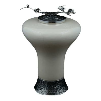 Ivory Rose Glass Cremation Urn