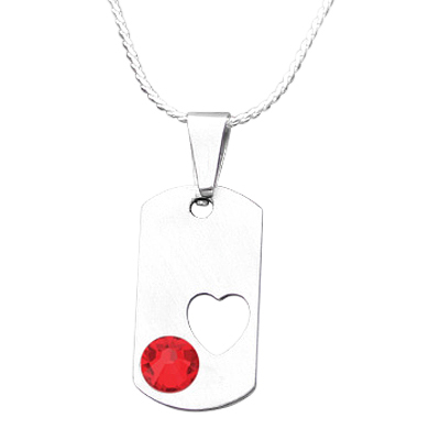 July Heart Cremation Pendant