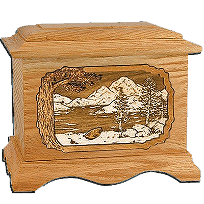 Lakeside Oak Cremation Urn For Two