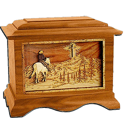 Last Horse Ride Mahogany Cremation Urn for Two