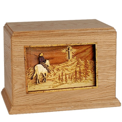 Last Horse Ride Oak Companion Urn