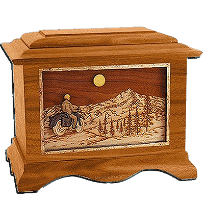 Last Motorcycle Ride Mahogany Cremation Urn For Two