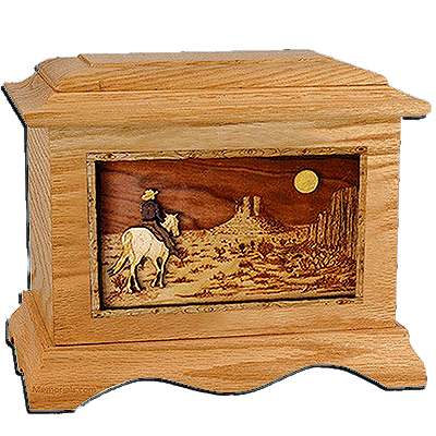 Last Ride Oak Cremation Urn for Two