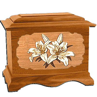 Lily Mahogany Cremation Urn for Two