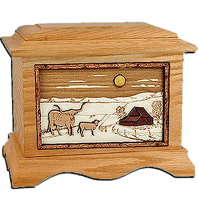 Longhorn Oak Cremation Urn For Two