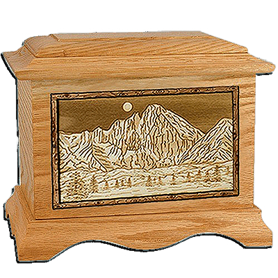 Longs Peak Oak Cremation Urn For Two