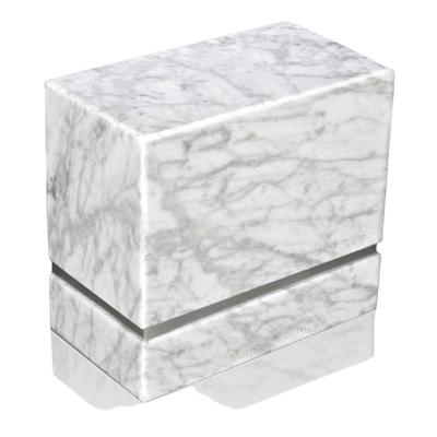 La Nostra Silver Bianco Marble Companion Urn