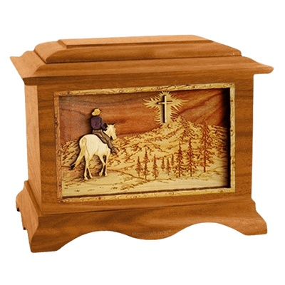 Last Horse Ride Mahogany Cremation Urn