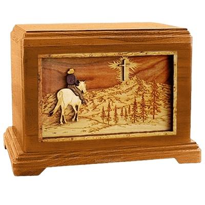 Last Horse Ride Mahogany Hampton Cremation Urn