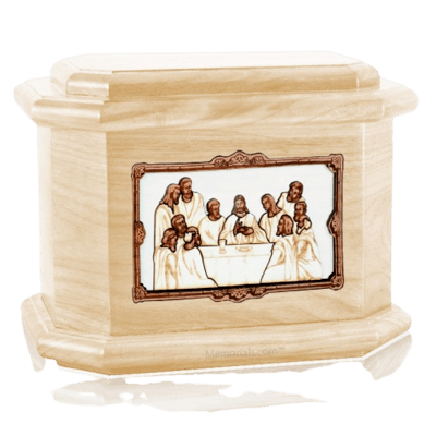 Last Supper Maple Octagon Cremation Urn