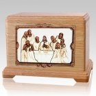 Last Supper Oak Hampton Cremation Urn