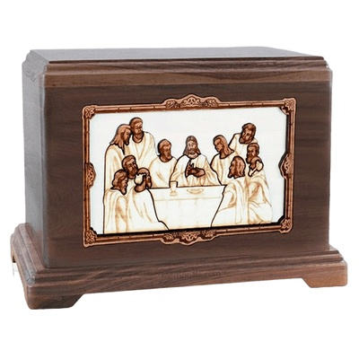 Last Supper Walnut Hampton Cremation Urn