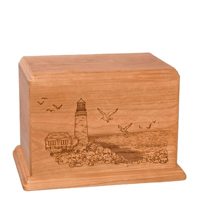 Lighthouse Individual Cherry Wood Urn