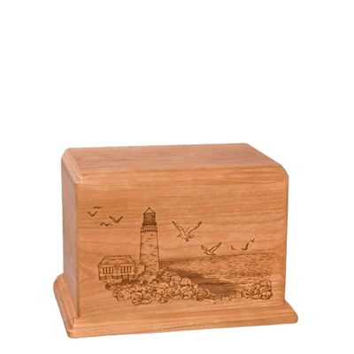 Lighthouse Small Cherry Wood Urn