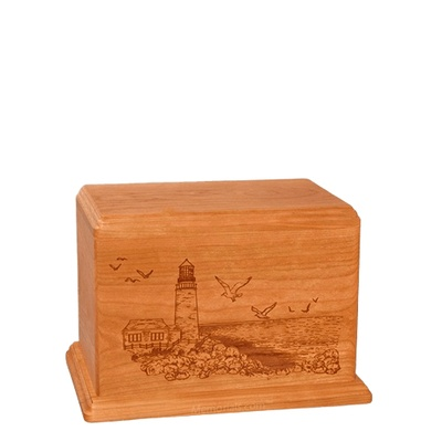 Lighthouse Small Mahogany Wood Urn