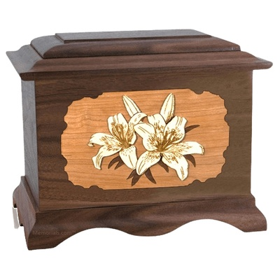 Lily Walnut Cremation Urn