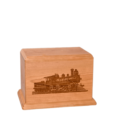 Locomotive Small Cherry Wood Urn