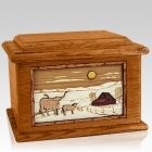 Longhorn Mahogany Memory Chest Cremation Urn