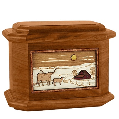 Longhorn Mahogany Octagon Cremation Urn