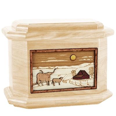 Longhorn Maple Octagon Cremation Urn
