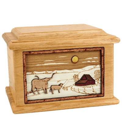 Longhorn Oak Memory Chest Cremation Urn