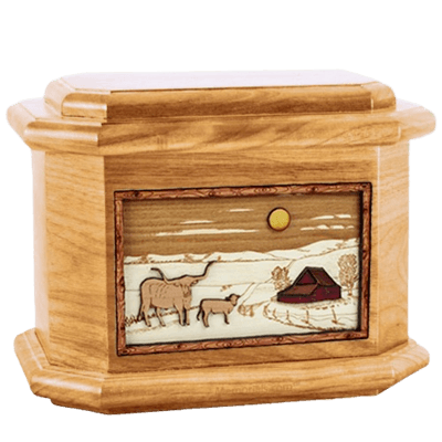 Longhorn Oak Octagon Cremation Urn