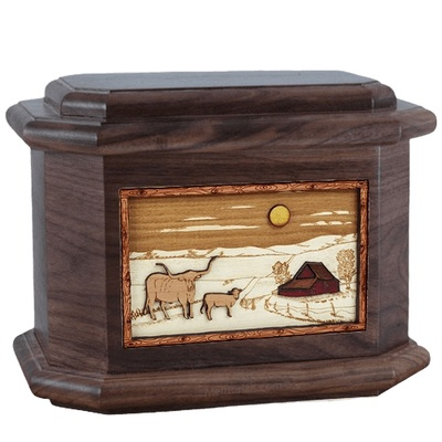 Longhorn Walnut Octagon Cremation Urn