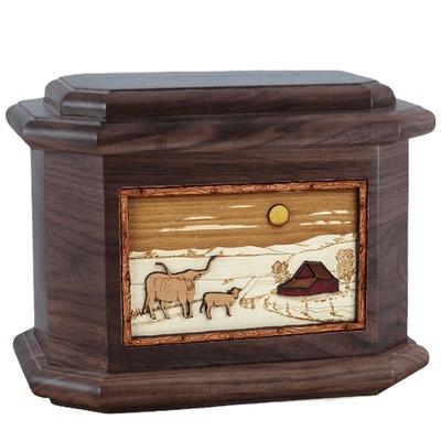 Longhorn Walnut Octagon Cremation Urn