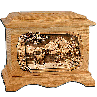 Moose Oak Cremation Urn For Two