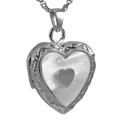 Double Pearl Heart Keepsake Pendant III