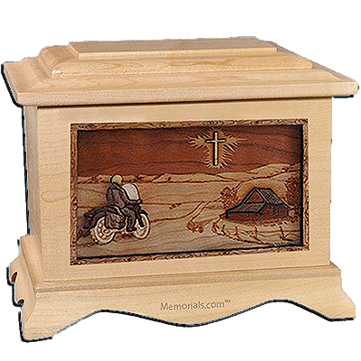 Motorcycle & Cross Maple Cremation Urn for Two