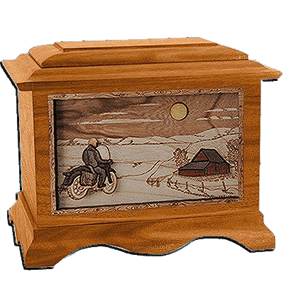 Motorcycle & Moon Mahogany Cremation Urn for Two