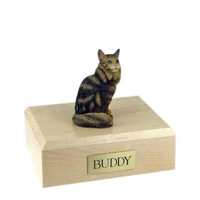 Maine Coon Brown Tabby Medium Cat Cremation Urn