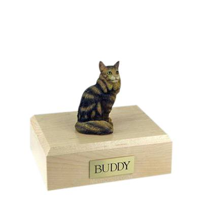 Maine Coon Brown Tabby Small Cat Cremation Urn