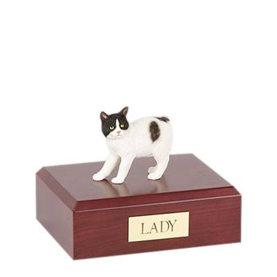 Manx Black and White Small Cat Cremation Urn