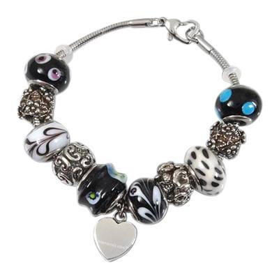 Midnight Heart Cremation Bracelet