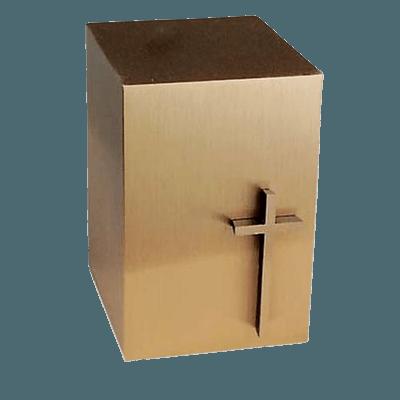Modern Cross Bronze Cremation Urn