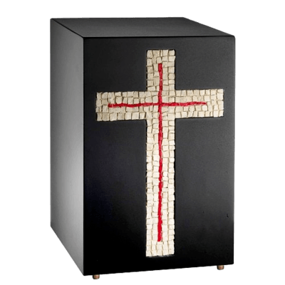 Modern Cross Mosaic Cremation Urn