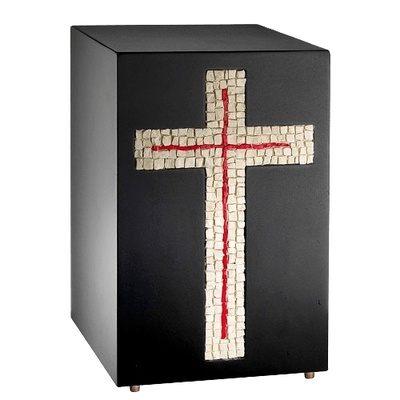 Modern Cross Mosaic Cremation Urn