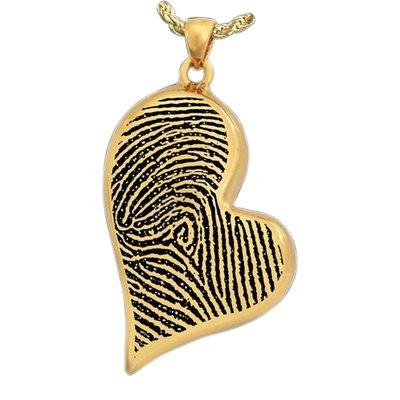 Modern Heart 14k Gold Cremation Print Keepsake