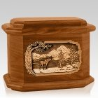 Moose Mahogany Octagon Cremation Urn