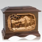 Moose Walnut Cremation Urn