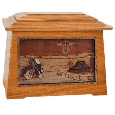 Motorcycle & Cross Mahogany Aristocrat Cremation Urn