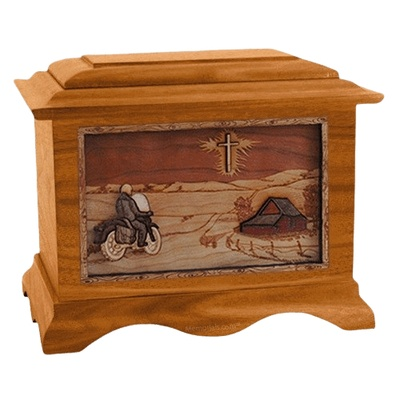 Motorcycle & Cross Mahogany Cremation Urn